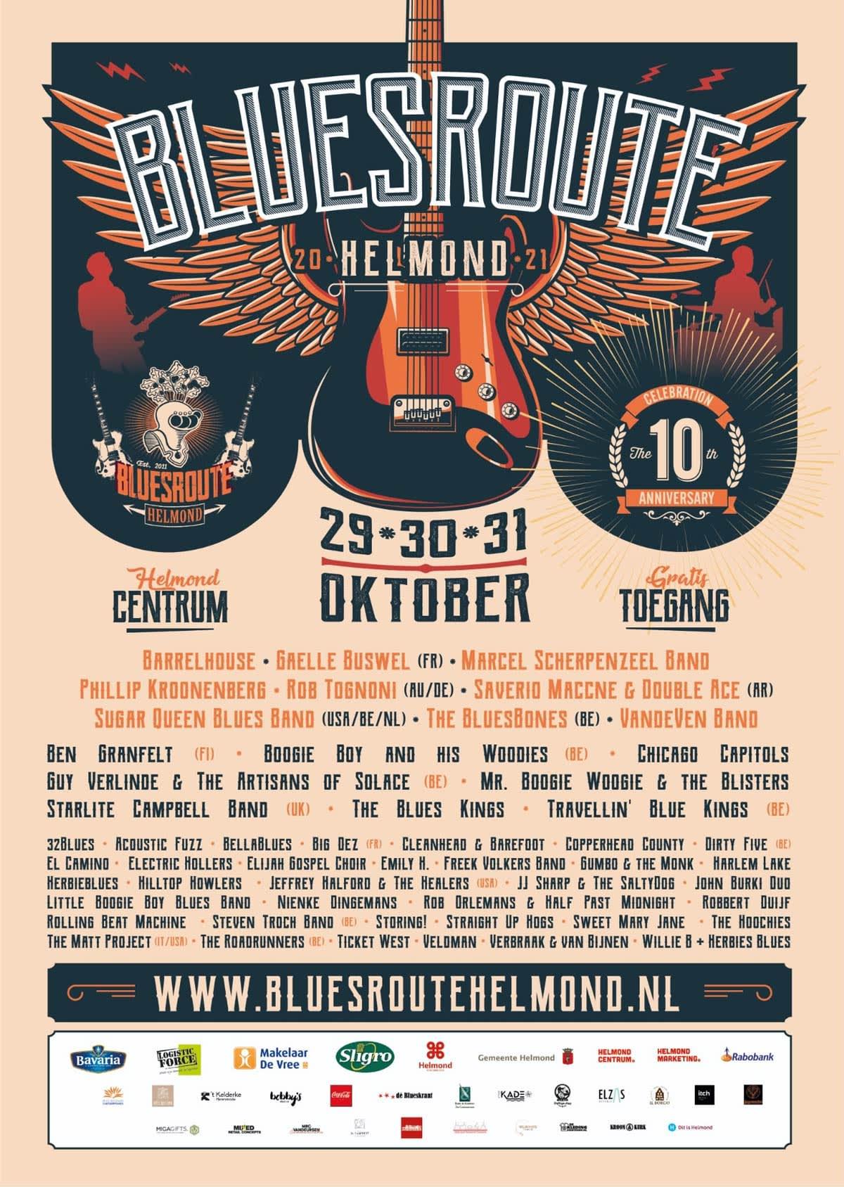 Bluesroute Helmond 2021 - poster / line-up